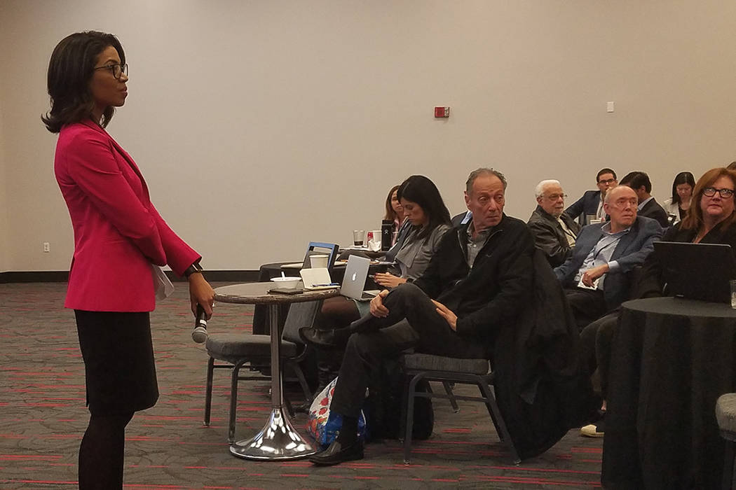 State Gaming Control Board Chairwoman Sandra Morgan takes questions following a presentation at the UNLV Gaming and Hospitality education series at UNLV on Thursday, Feb. 21, 2019. (Richard N. Vel ...