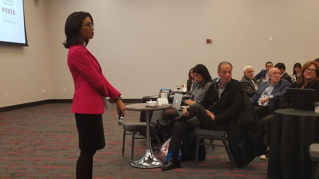State Gaming Control Board Chairwoman Sandra Morgan takes questions following a presentation at the UNLV Gaming and Hospitality education series at UNLV on Thursday, Feb. 21, 2019. Richard N. Velo ...