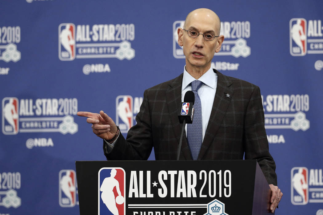 FILE - In this Feb. 16, 2019, file photo, NBA Commissioner Adam Silver speaks during NBA All-Star festivities in Charlotte, N.C. A person with knowledge of the matter says that the NBA recently se ...