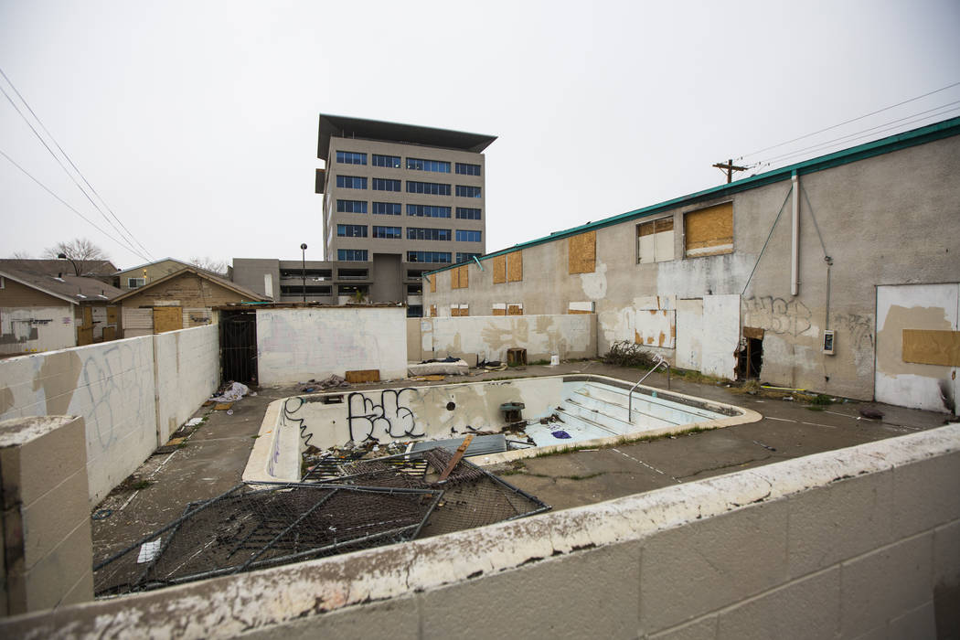 A view of a pool area at the annexation building of the El Cid Hotel in downtown Las Vegas on Thursday, Feb. 21, 2019. The Las Vegas City Council took steps to demolish the hotel, and its annexati ...