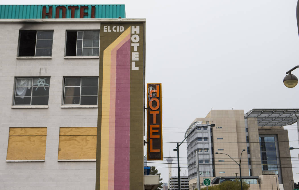 A view of the El Cid Hotel from 6th Street near Bridger Avenue in downtown Las Vegas on Thursday, Feb. 21, 2019. The Las Vegas City Council took steps to demolish the hotel, and its annexation bui ...