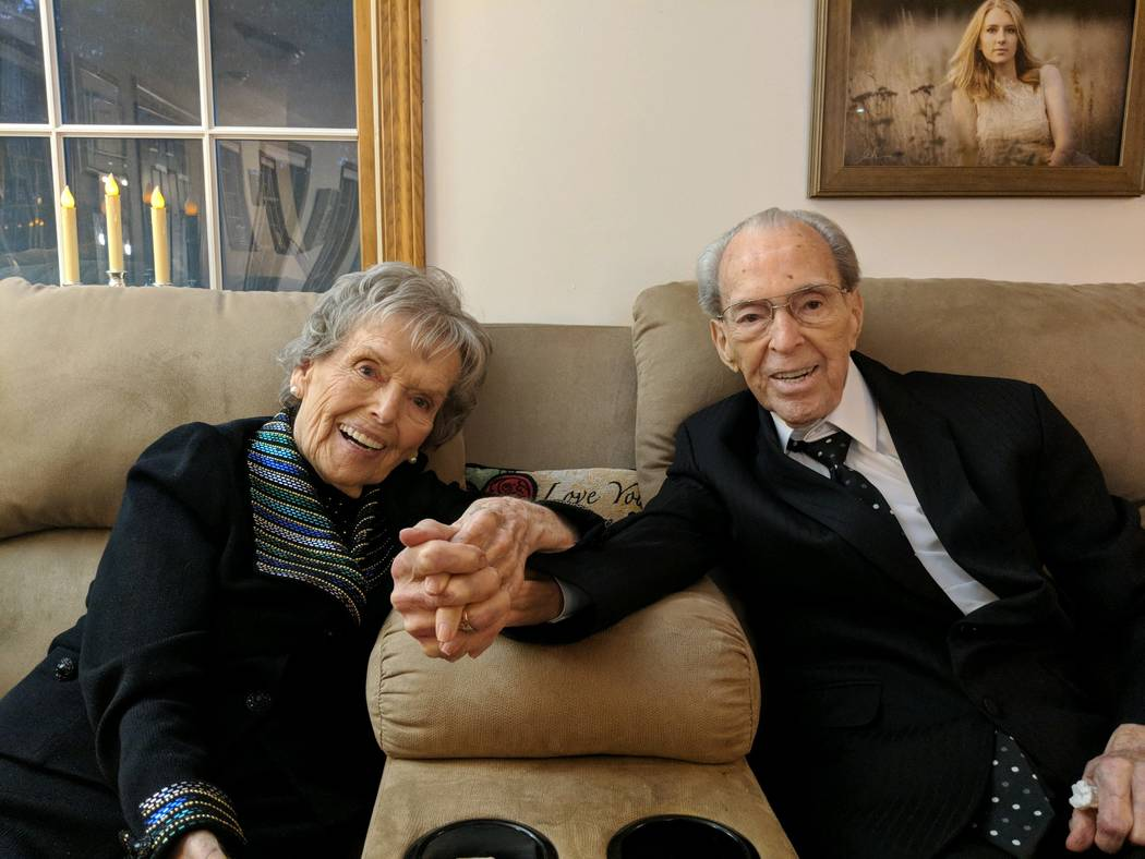 George Dickerson (right) pictured with his wife of 70 years, Doree Dickerson (left). Dickerson died at his home in Maine last week. He was 96. (Courtesy of Michael Dickerson)