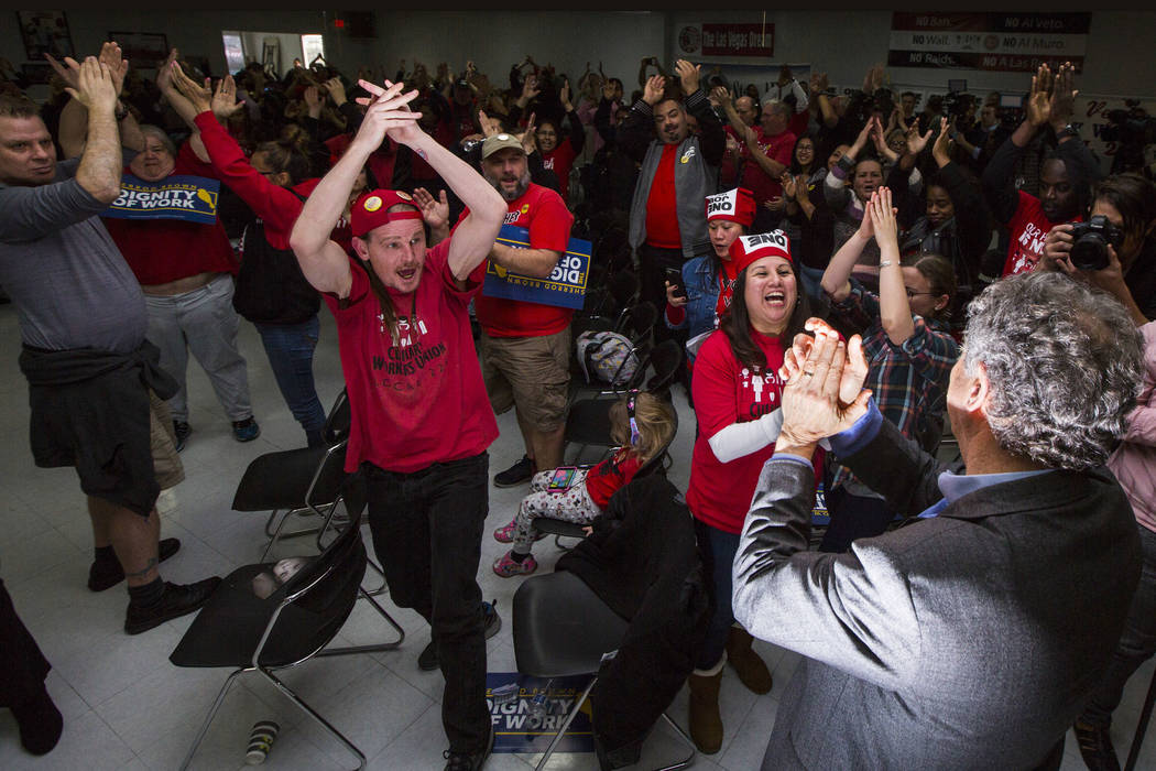 Members of Culinary Workers Union Local 226 cheer for U.S. Sen. Sherrod Brown, D-Ohio, right, at a meet and greet event in Las Vegas on Saturday, Feb. 23, 2019. Brown is considering a run in the 2 ...