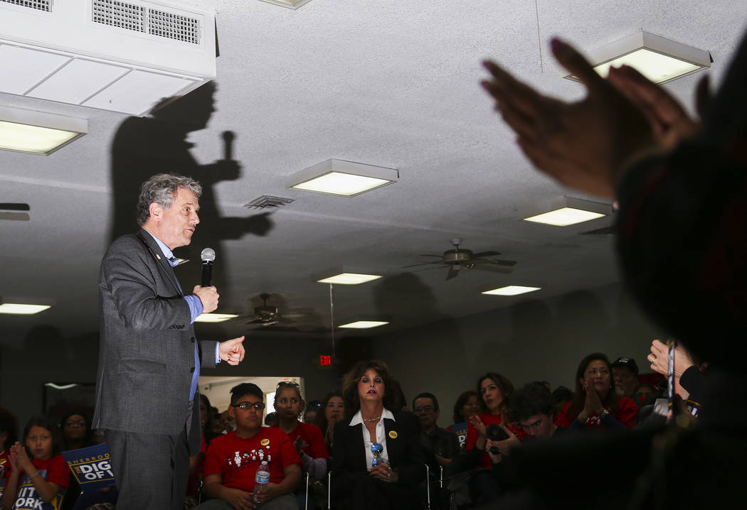 U.S. Sen. Sherrod Brown, D-Ohio, who is considering a run in the 2020 presidential race, speaks during a meet and greet at Culinary Workers Union Local 226 in Las Vegas on Saturday, Feb. 23, 2019. ...