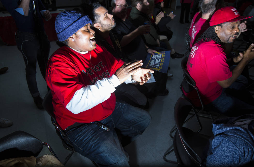 Attendees cheer before a visit by U.S. Sen. Sherrod Brown, D-Ohio, who is considering a run in the 2020 presidential race, at Culinary Workers Union Local 226 in Las Vegas on Saturday, Feb. 23, 20 ...