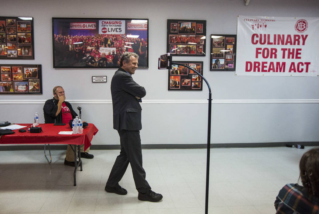 U.S. Sen. Sherrod Brown, D-Ohio, who is considering a run in the 2020 presidential race, prepares to speak at a meet and greet at Culinary Workers Union Local 226 in Las Vegas on Saturday, Feb. 23 ...