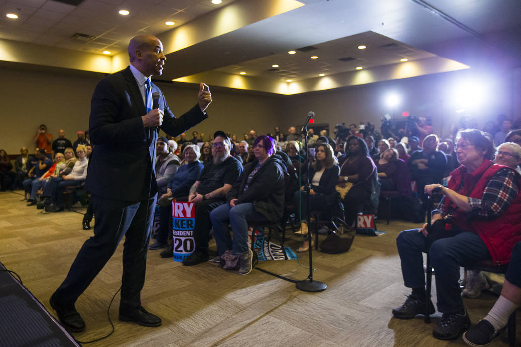 U.S. Sen. Cory Booker, D-N.J., a Democratic presidential hopeful, speaks during a campaign rally at the Nevada Partners Event Center in North Las Vegas on Sunday, Feb. 24, 2019. (Chase Stevens/Las ...