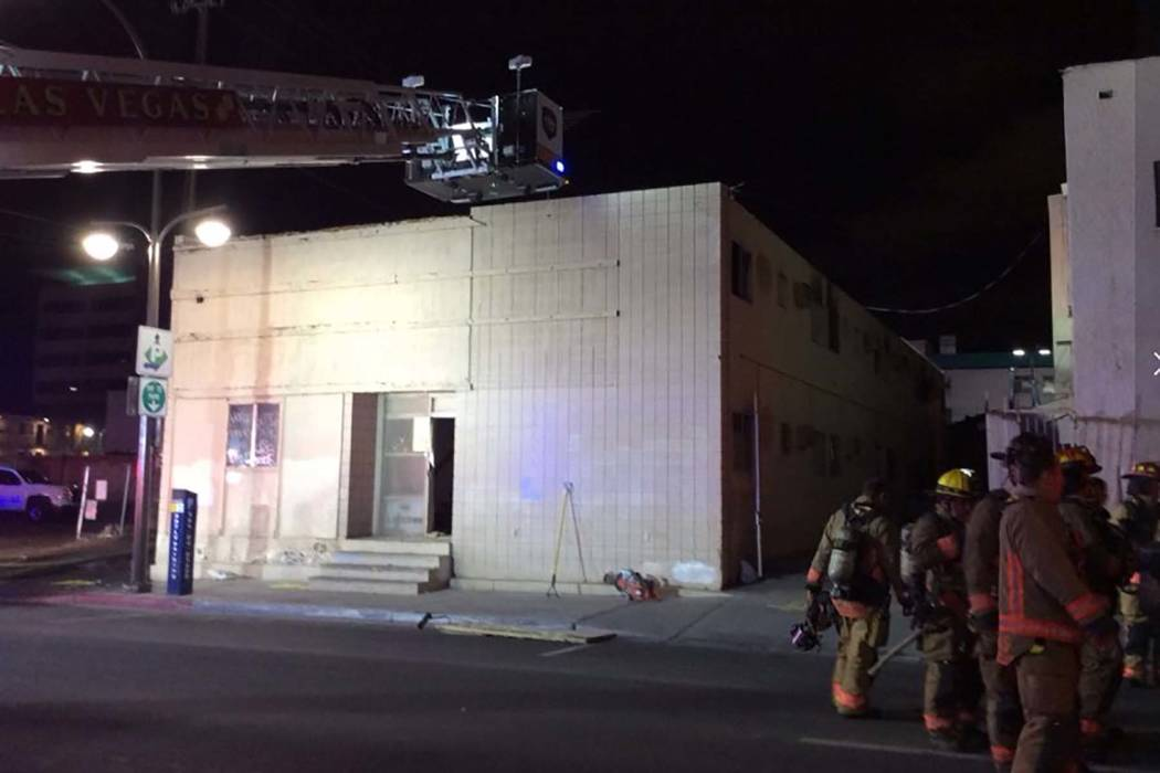 Five people were rescued Friday morning from a fire at a vacant, downtown Las Vegas motel at 615 E. Carson Ave. (Las Vegas Fire & Rescue)