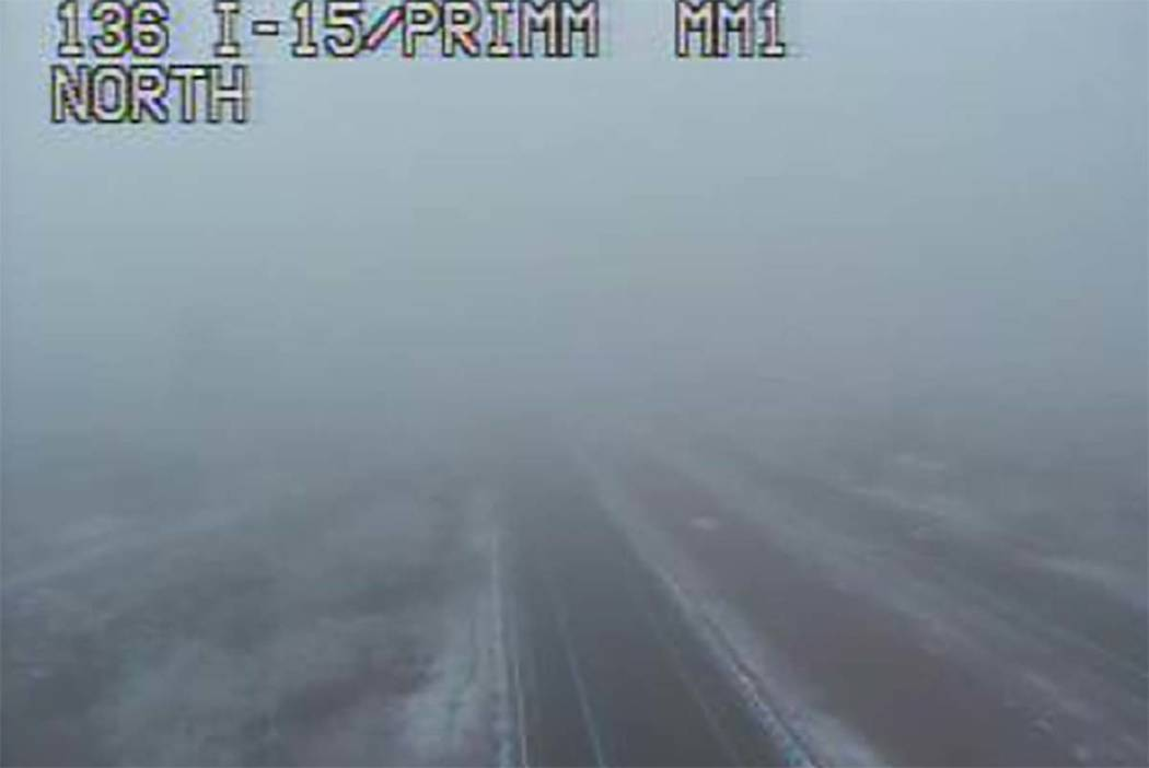 Interstate 15 at Primm has reopened despite fog in the area. (RTC camera)