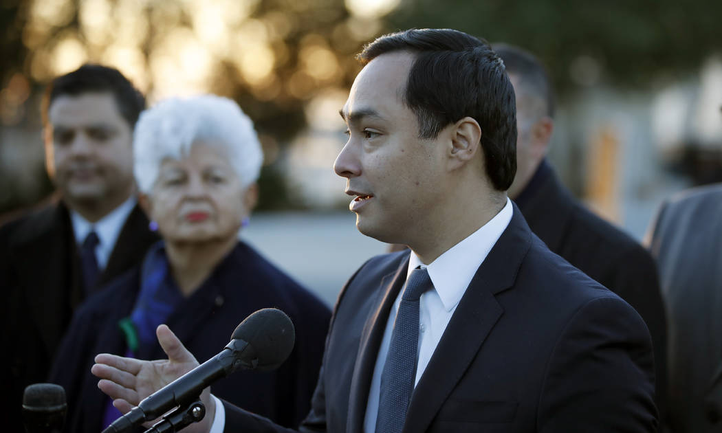Congressional Hispanic Caucus First Vice Chair, Rep. Joaquin Castro, D-Texas, speaks about the Deferred Action for Childhood Arrivals (DACA) program during a news conference on Capitol Hill, Monda ...
