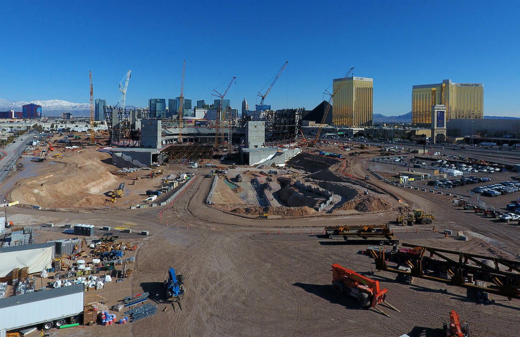 Aerial view of Raiders stadium in Las Vegas as it continues to take shape without little to no impact from the winter storm that passed through the Valley on Wednesday and Thursday this week. Frid ...