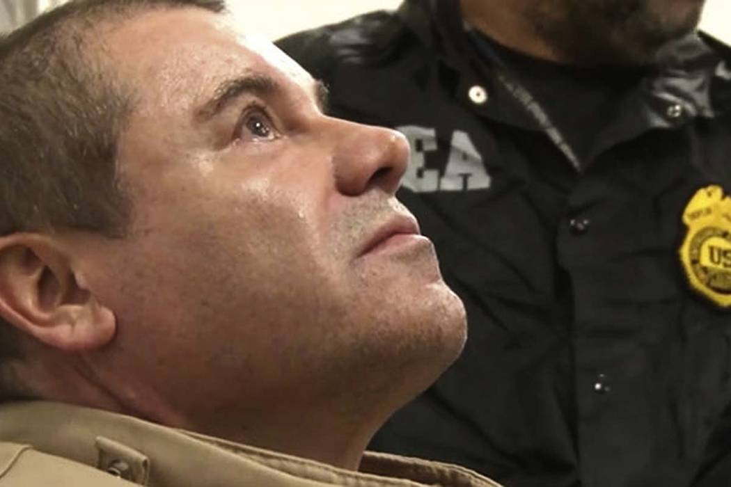 "In this Jan. 19, 2017 file photo provided by the United States Drug Enforcement Administration, Mexican drug kingpin Joaquin ""El Chapo"" Guzman arrives at Long Island MacArthur Airport in Ronkonkom ..."