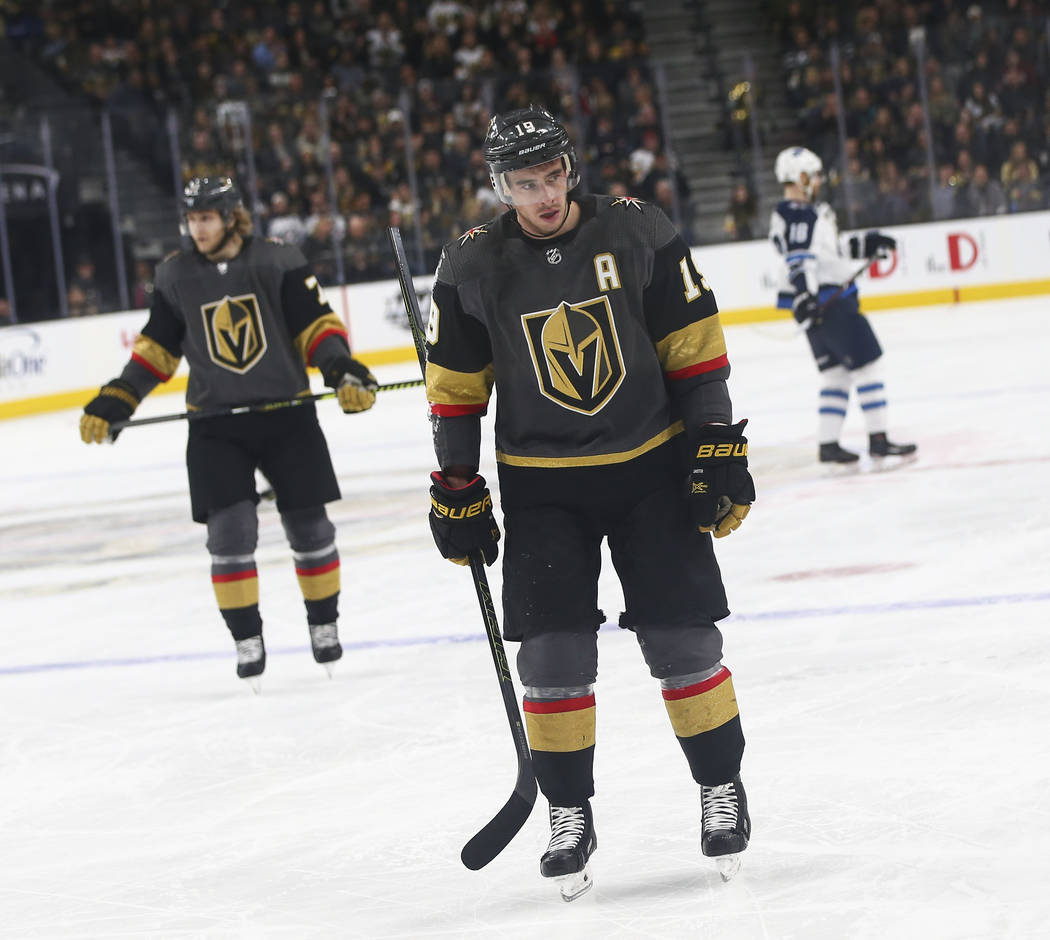 Golden Knights right wing Reilly Smith (19) reacts during the second period of an NHL hockey game against the Winnipeg Jets at T-Mobile Arena in Las Vegas on Friday, Feb. 22, 2019. (Chase Stevens/ ...