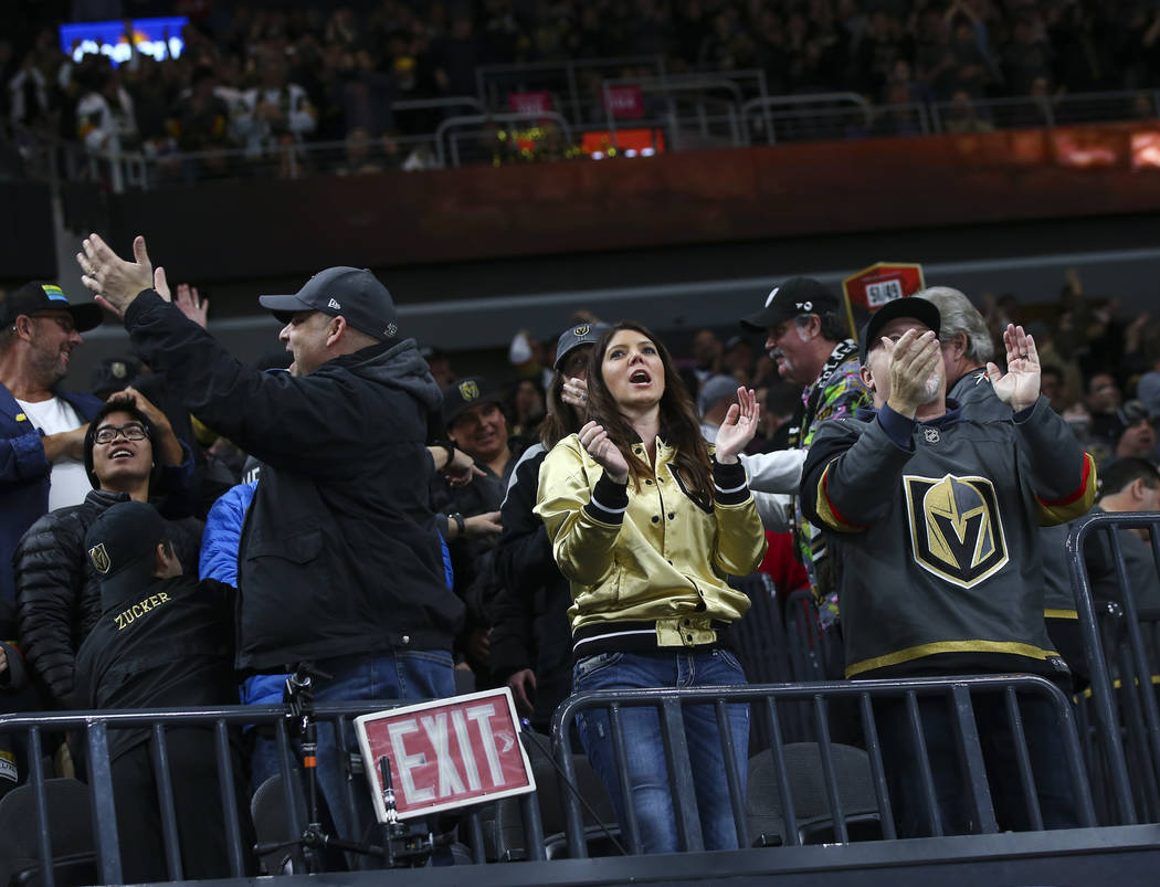 Golden Knights fans celebrate a goal during the second period of an NHL hockey game at T-Mobile Arena in Las Vegas on Friday, Feb. 22, 2019. (Chase Stevens/Las Vegas Review-Journal) @csstevensphoto