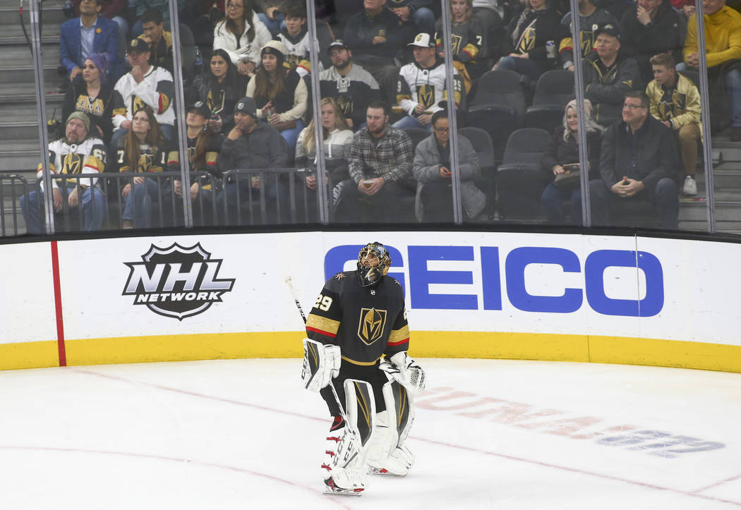 Golden Knights goaltender Marc-Andre Fleury (29) watches the replay video after giving up a goal to the Winnipeg Jets during the third period of an NHL hockey game at T-Mobile Arena in Las Vegas o ...