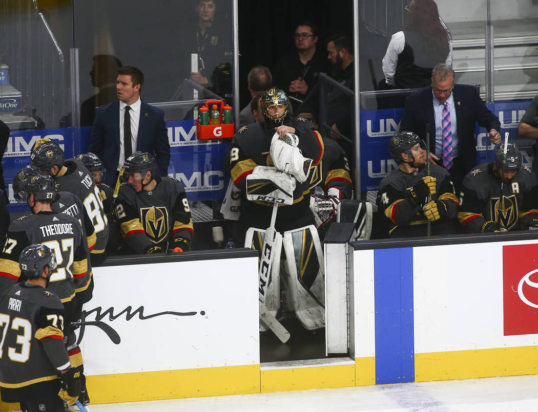 Golden Knights goaltender Marc-Andre Fleury (29) reacts during a time out before being pulled off the ice during the third period of an NHL hockey game against the Winnipeg Jets at T-Mobile Arena ...