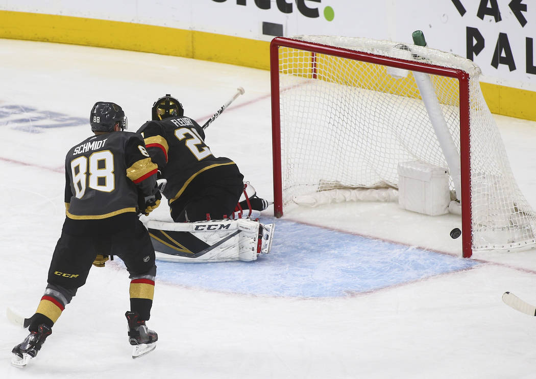 Golden Knights goaltender Marc-Andre Fleury (29) gives up a goal to the Winnipeg Jets during the third period of an NHL hockey game at T-Mobile Arena in Las Vegas on Friday, Feb. 22, 2019. (Chase ...