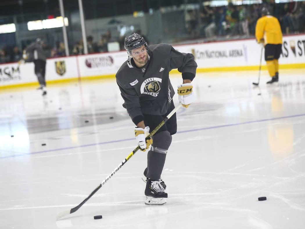 Golden Knights defenseman Colin Miller (6) during practice at City National Arena in Las Vegas on Thursday, Feb. 21, 2019. (Chase Stevens/Las Vegas Review-Journal) @csstevensphoto