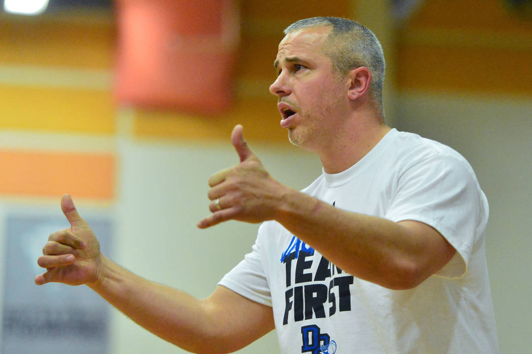 Desert Pines head coach Mike Uzan calls for a jump ball in the fourth quarter of the Desert Pines vs. Silverado High School basketball game at Desert Pines High School in Las Vegas on Monday, Jan. ...
