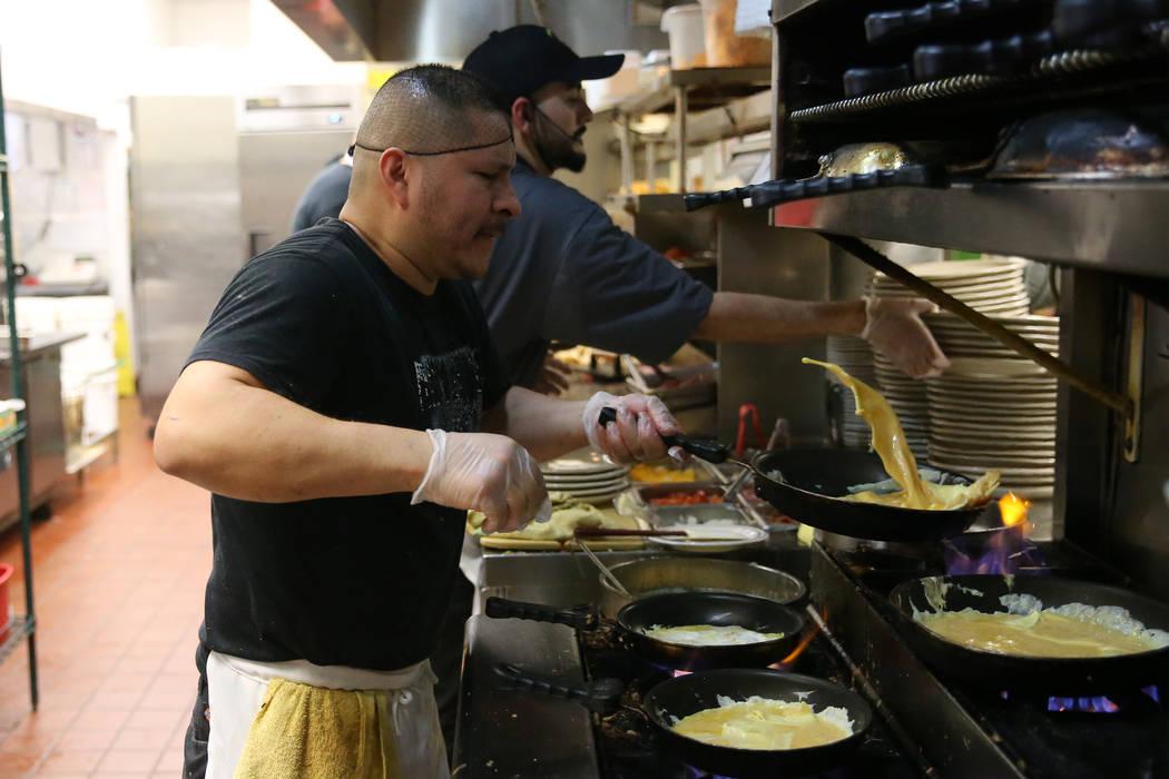 Raymundo Alfaro, executive chef of 18 years at Omelet House, cooks in the kitchen at the Omelet House in Las Vegas, Friday, Feb. 1, 2019. (Erik Verduzco/Las Vegas Review-Journal) @Erik_Verduzco