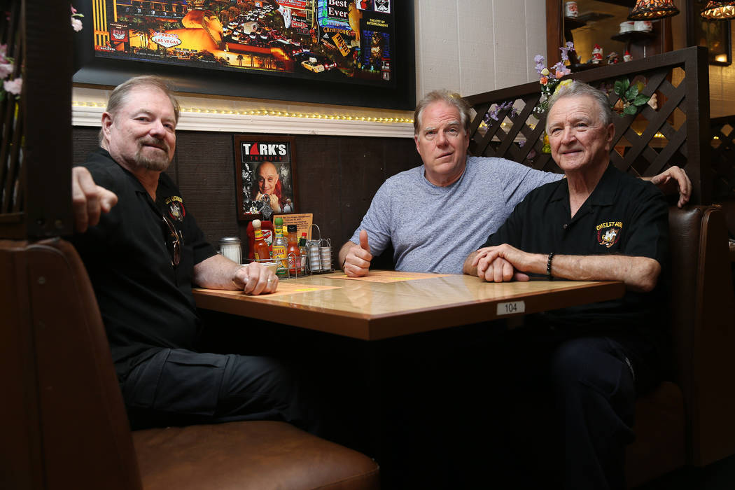 Senior partners Fred Ostertag, from left, Kevin Mills, and Michael McGowan, are photographed at their restaurant Omelet House in Las Vegas, Friday, Feb. 1, 2019. (Erik Verduzco/Las Vegas Review-Jo ...