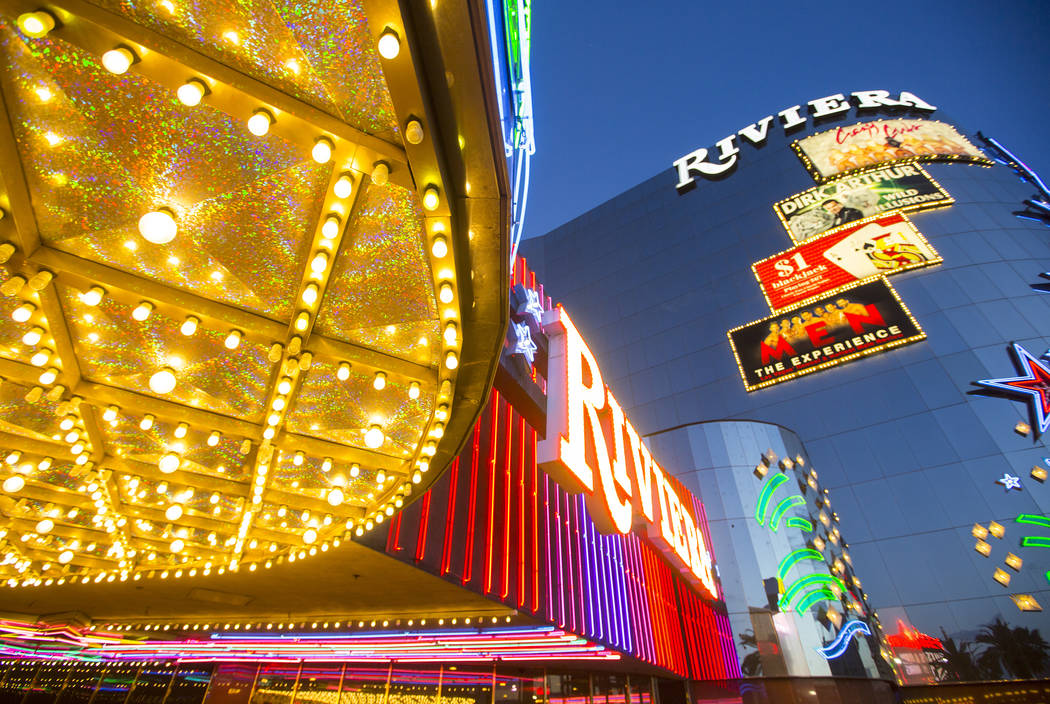 Exterior lights as seen Monday, April 20, 2015 at the Riviera hotel-casino in Las Vegas. (Las Vegas Review-Journal)