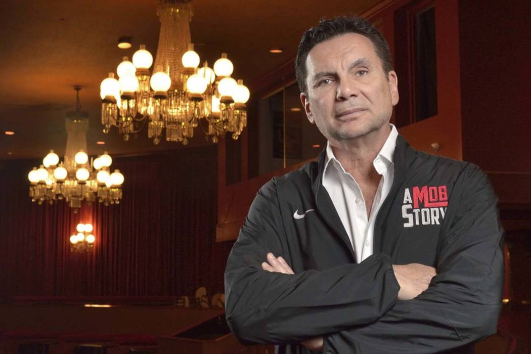 """Michael Franzese, a reformed ex-mobster with the Columbo crime family, is shown in the Plaza Showroom on Friday, May 4, 2018, where he is scheduled to debut his new show, """"A Mob Story,&#x20 ..."""