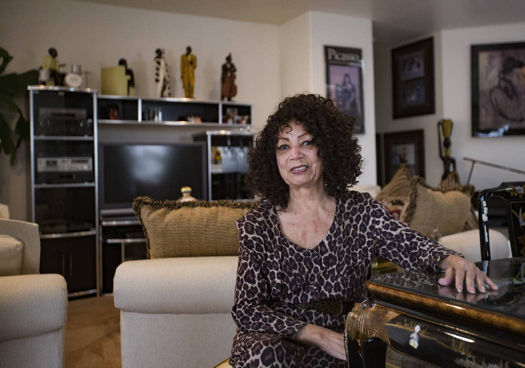 Dee Dee Jasmin, a former dancer for the Moulin Rouge hotel-casino, at her home in Henderson, Wednesday, Feb. 13, 2019. (Rachel Aston/Las Vegas Review-Journal) @rookie__rae