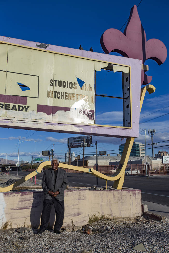 Q.B. Bush, a former craps dealer at the Moulin Rouge hotel-casino, in front of the former Moulin Rouge sign in Las Vegas, Monday, Feb. 18, 2019. (Rachel Aston/Las Vegas Review-Journal) @rookie__rae