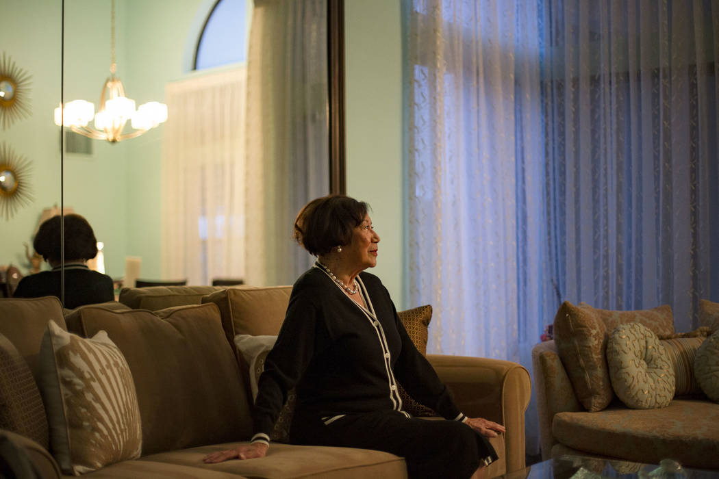 Anna Bailey, a former dancer at the Moulin Rouge, at her home in Las Vegas, Thursday, Feb. 21, 2019. Bailey was a dancer at the Moulin Rouge, the first integrated hotel-casino in Nevada, from its ...