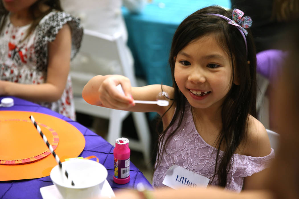 Lillian Roth, 6, attends the annual Mad Hatter Tea Party for children and families at the Summerlin Council in Las Vegas, Friday, Feb. 22, 2019. (Erik Verduzco/Las Vegas Review-Journal) @Erik_Verduzco