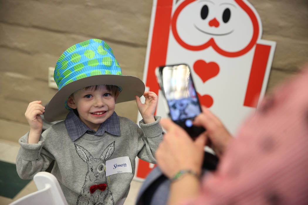 Simon Lowenstein, 5, of Las Vegas, attends the annual Mad Hatter Tea Party for children and families at the Summerlin Council in Las Vegas, Friday, Feb. 22, 2019. (Erik Verduzco/Las Vegas Review-J ...