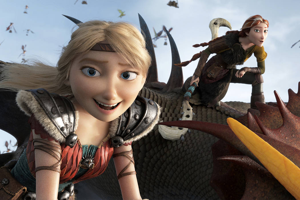 "This image released by Universal Pictures shows characters Astrid, voiced by America Ferrera, left, and Valka, voiced by Cate Blanchett, in a scene from DreamWorks Animation's ""How to Train Y ..."
