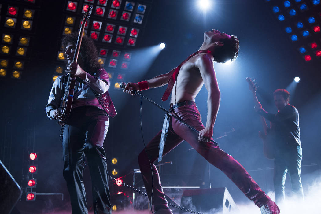 "This image released by Twentieth Century Fox shows Gwilym Lee, from left, Rami Malek and Joe Mazzello in a scene from ""Bohemian Rhapsody."" The film is nominated for an Oscar for best pic ..."