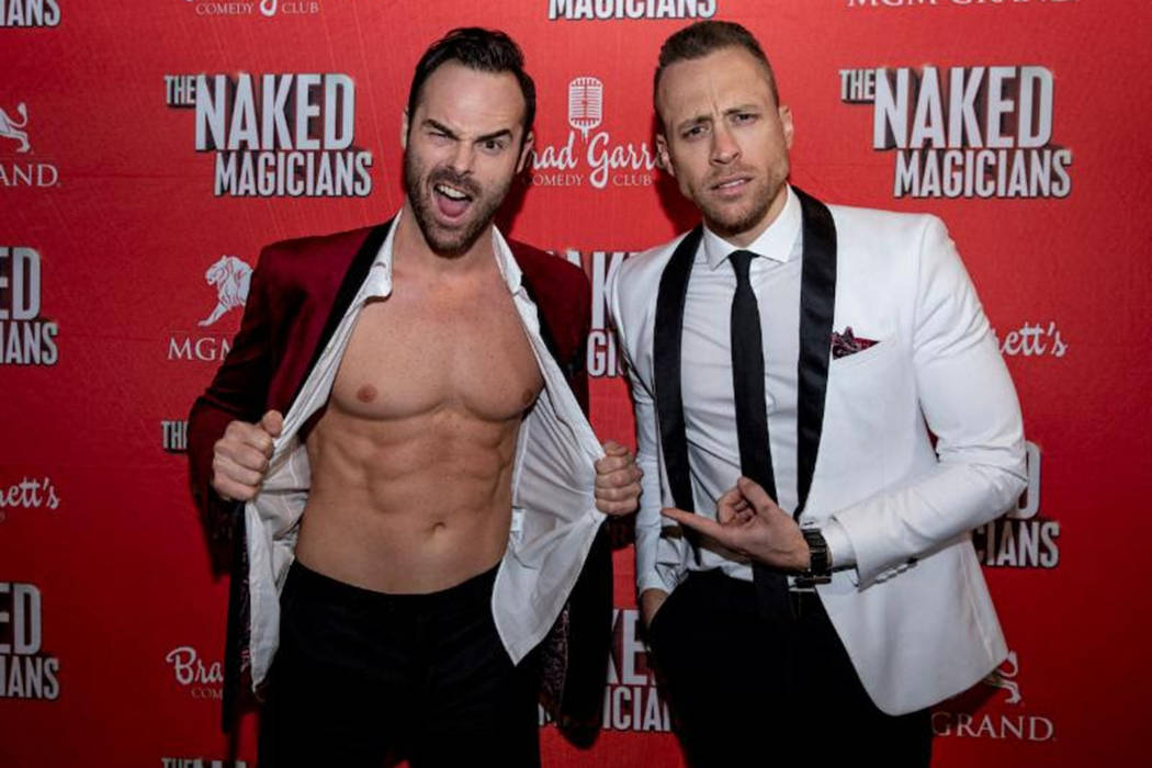 Chris Wayne and Mike Tyler of Naked Magicians perform at Brad Garrett's Comedy Club at MGM Grand. (Naked Magicians)