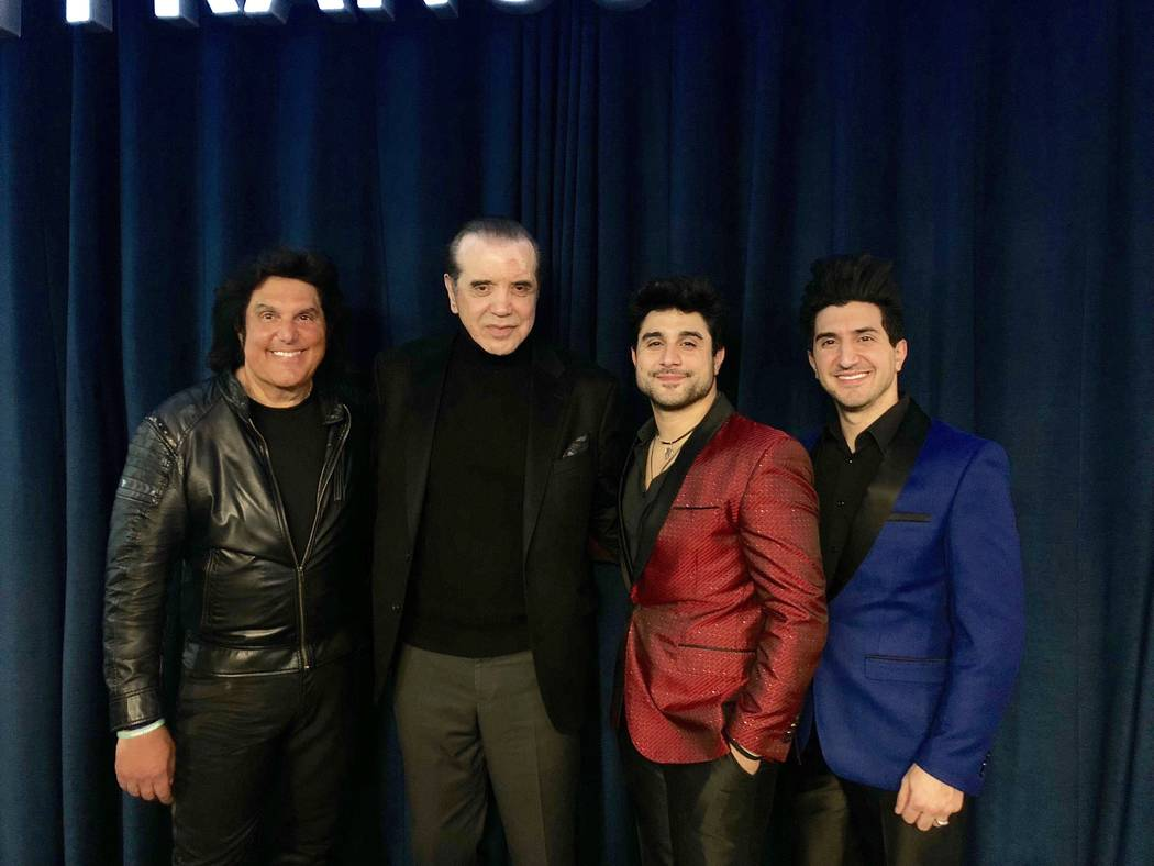 Vinny Adinolfi, Chazz Palminteri, Vin A., and Nick Adinolfi are shown at the red-carpet opening of Bronx Wanderers at Linq Hotel on Wednesday, Feb. 20, 2019. (Ira Kuzma)