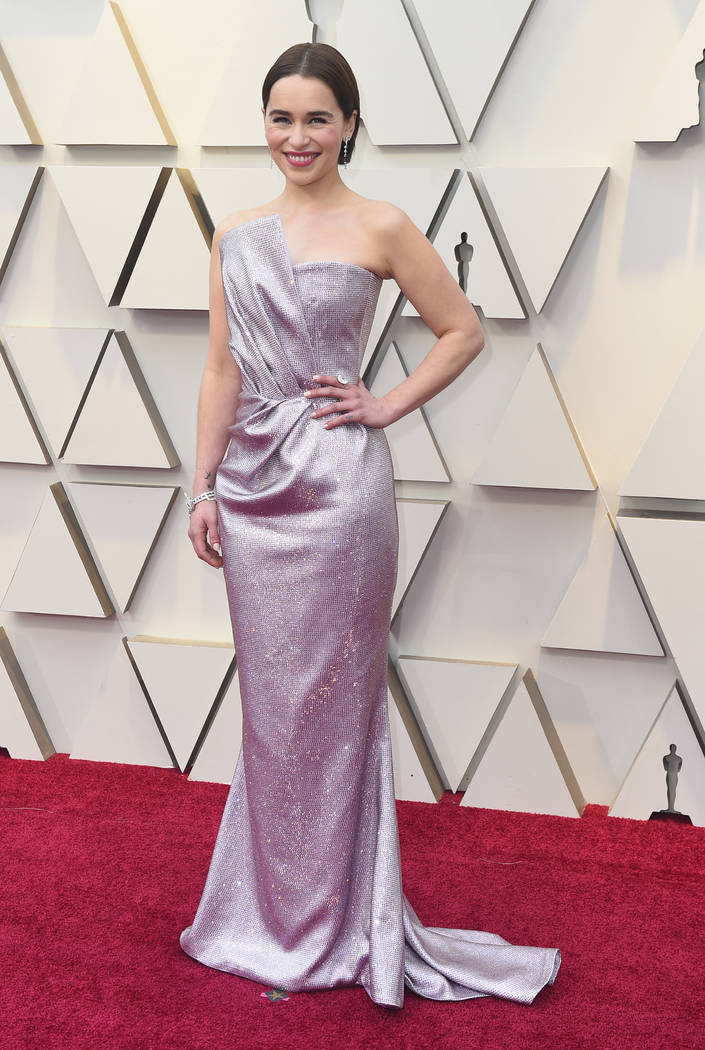 Emilia Clarke arrives at the Oscars on Sunday, Feb. 24, 2019, at the Dolby Theatre in Los Angeles. (Photo by Jordan Strauss/Invision/AP)