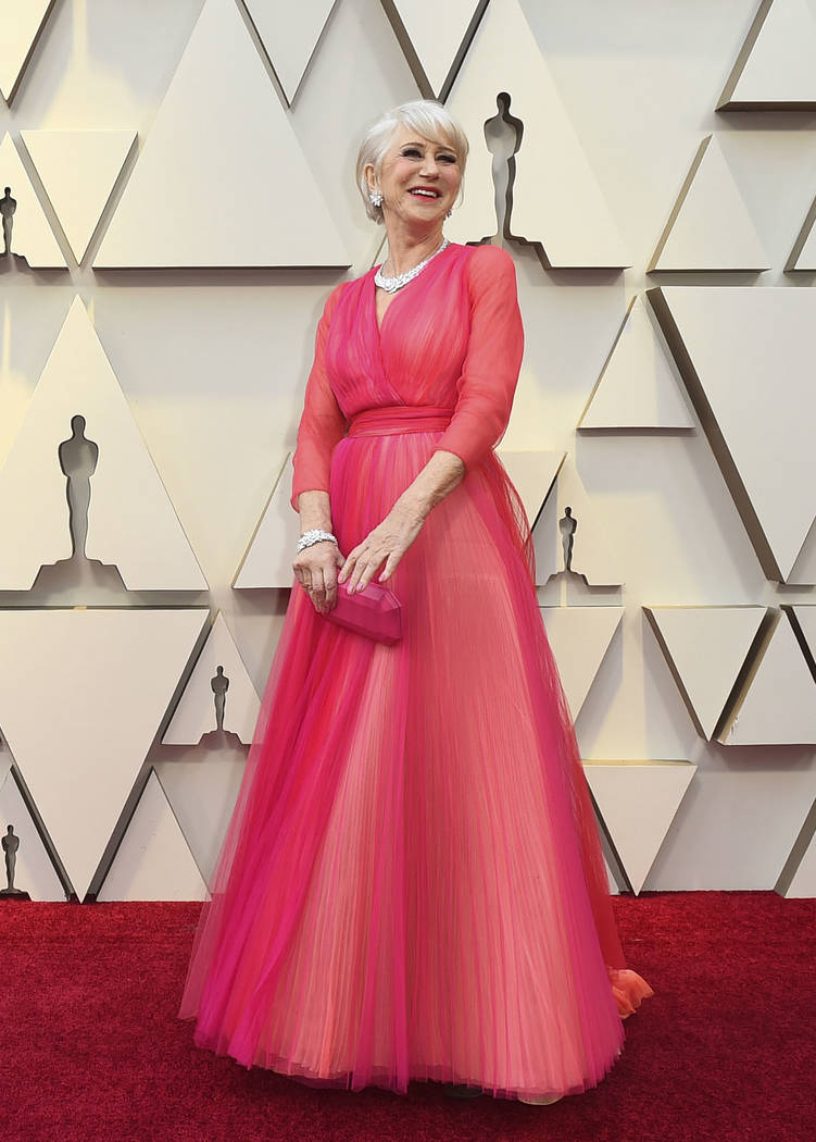 Helen Mirren arrives at the Oscars on Sunday, Feb. 24, 2019, at the Dolby Theatre in Los Angeles. (Photo by Jordan Strauss/Invision/AP)
