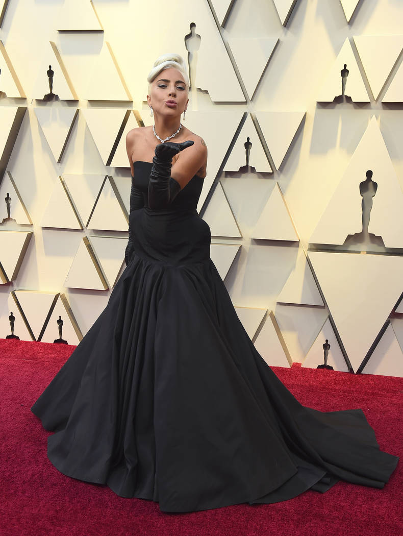 Lady Gaga blows a kiss as she arrives at the Oscars on Sunday, Feb. 24, 2019, at the Dolby Theatre in Los Angeles. (Photo by Jordan Strauss/Invision/AP)