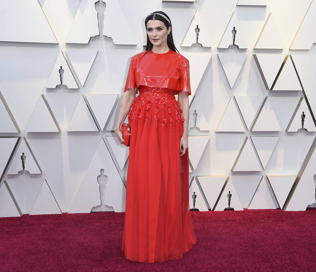 Rachel Weisz arrives at the Oscars on Sunday, Feb. 24, 2019, at the Dolby Theatre in Los Angeles. (Photo by Richard Shotwell/Invision/AP)