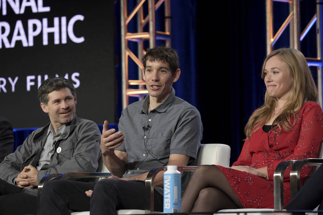 "Mikey Schaefer, from left, Alex Honnold and Sanni McCandless participate in the ""Free Solo"" panel during the National Geographic portion of the TCA Winter Press Tour on Friday, Feb. 8, 2 ..."