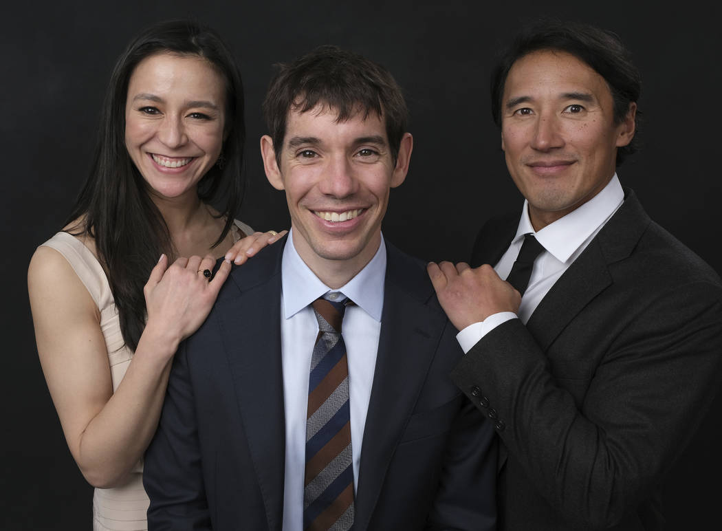 Elizabeth Chai Vasarhelyi, from left, Alex Honnold and Jimmy Chin pose for a portrait at the 91st Academy Awards Nominees Luncheon at The Beverly Hilton Hotel on Monday, Feb. 4, 2019, in Beverly H ...