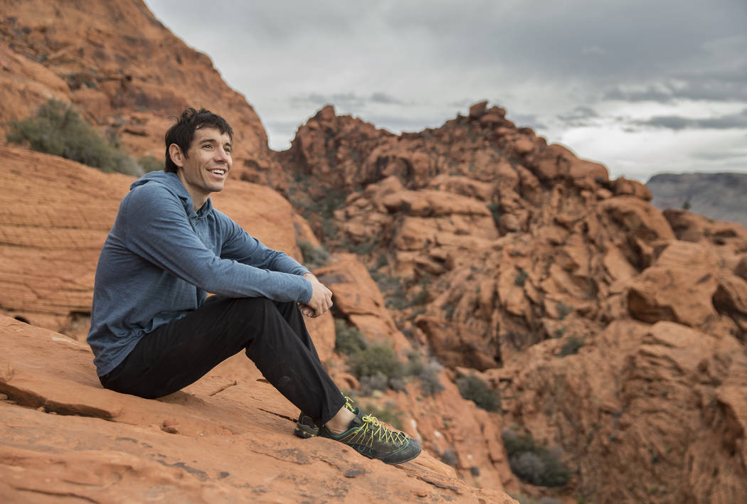 Alex Honnold at The Gallery at Red Rock Canyon on Monday, Dec. 17, 2018, in Las Vegas. Honnold, arguably the best rock climber in the world, solo climbed El Capitan, a 3,000-foot granite wall in Y ...