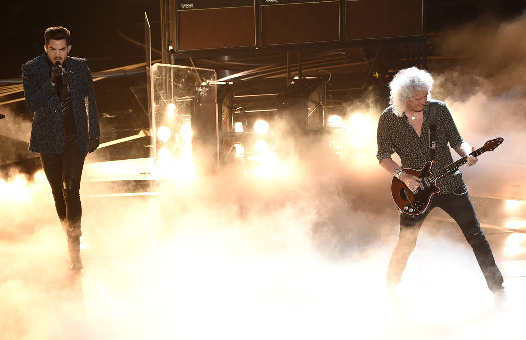 Adam Lambert, left, and Brian May of Queen perform at the Oscars on Sunday, Feb. 24, 2019, at the Dolby Theatre in Los Angeles. (Photo by Chris Pizzello/Invision/AP)