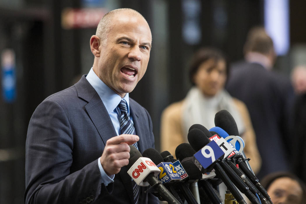 Attorney Michael Avenatti, who is representing an alleged R. Kelly victim, speaks to reporters at the Leighton Criminal Courthouse in Chicago after the R&B singer entered a not guilty plea to ...
