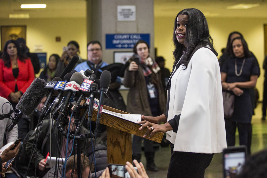 Cook County State's Attorney Kim Foxx speaks to reporters at the Leighton Criminal Courthouse after R. Kelly was ordered held on a $1 million bond, Saturday, Feb. 23, 2019 in Chicago. Cook County ...