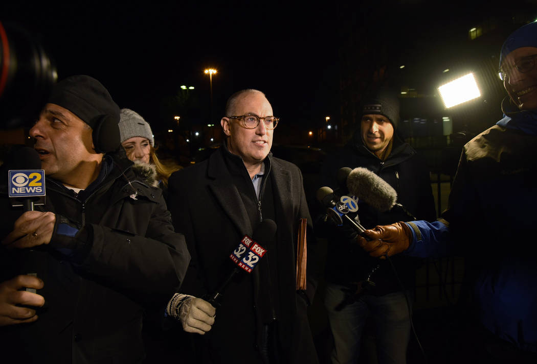 R. Kelly's defense attorney, Steve Greenberg, speaks to reporters Sunday, Feb. 24, 2019, in Chicago. R. Kelly, one of the best-selling music artists of all time, won't get out of jail until Monday ...