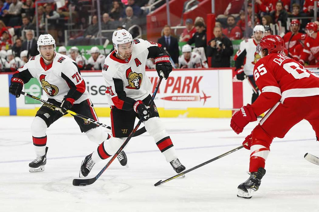 Ottawa Senators right wing Mark Stone (61) shoots against the Detroit Red Wings in the first period of an NHL hockey game Thursday, Feb. 14, 2019, in Detroit. (Paul Sancya/AP)