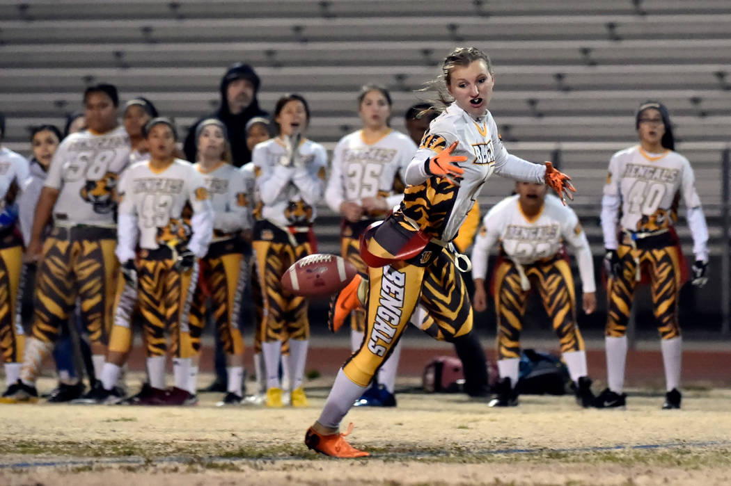 Bonanza's Shayne Dunn misses a pass against Green Valley during Class 4A state flag football championship game at Cimarron High School Monday, Feb. 25, 2019, in Las Vegas. Green Valley won 14-13. ...