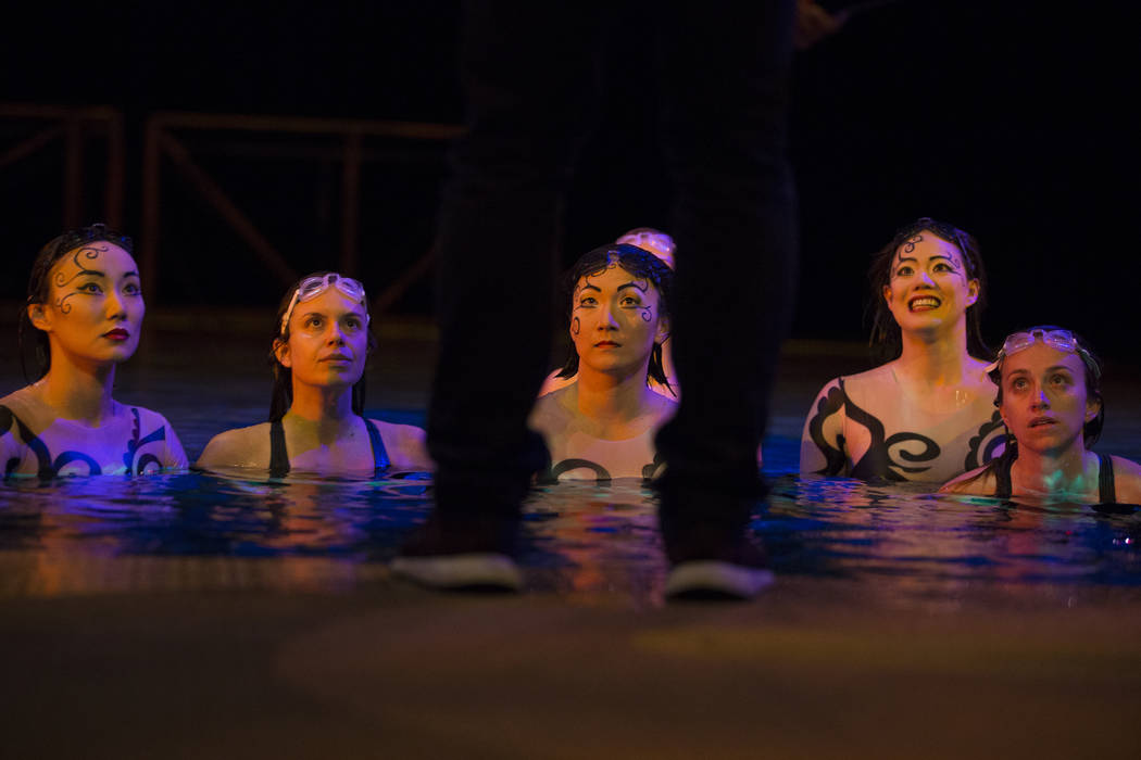 """Performers with Cirque du Soleil get feedback during a sneak preview of the seventh annual philanthropic production """"One Night for One Drop 2019"""" at the """"O"""" Theatre on Monday, ..."""
